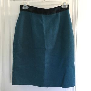 VINTAGE Teal Velvet Wool Pencil Skirt High Waisted